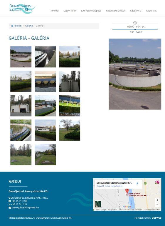 Dunaújvárosi Szennyvíztisztító Kft. honlapja